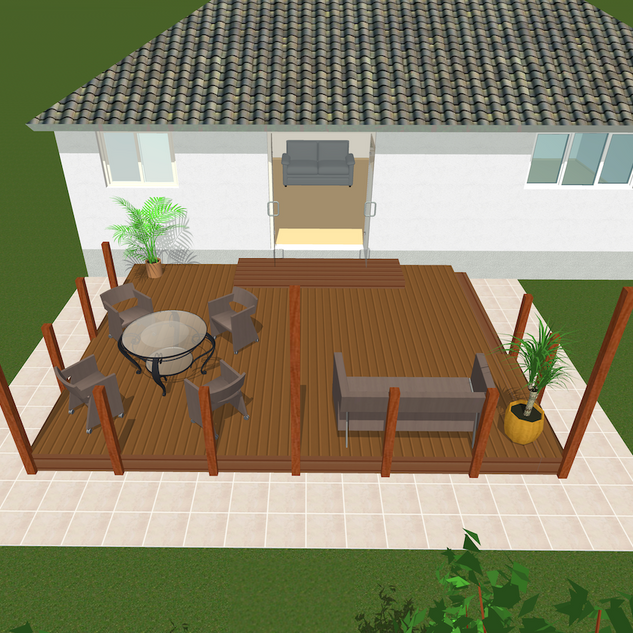 Raised timber deck 3D CAD drawing