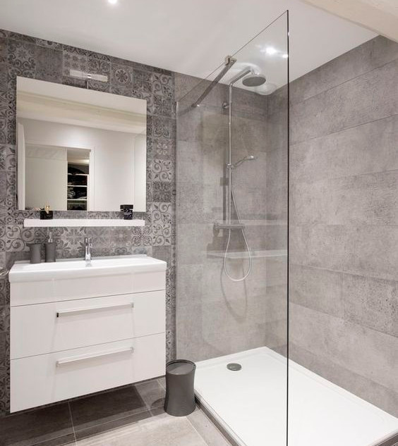 Luxury bathroom with walk-in shower and