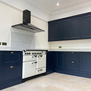 Navy shaker with Range cooker and extra wide extractor hood