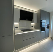 Modern fully handleless kitchen with LED lighting