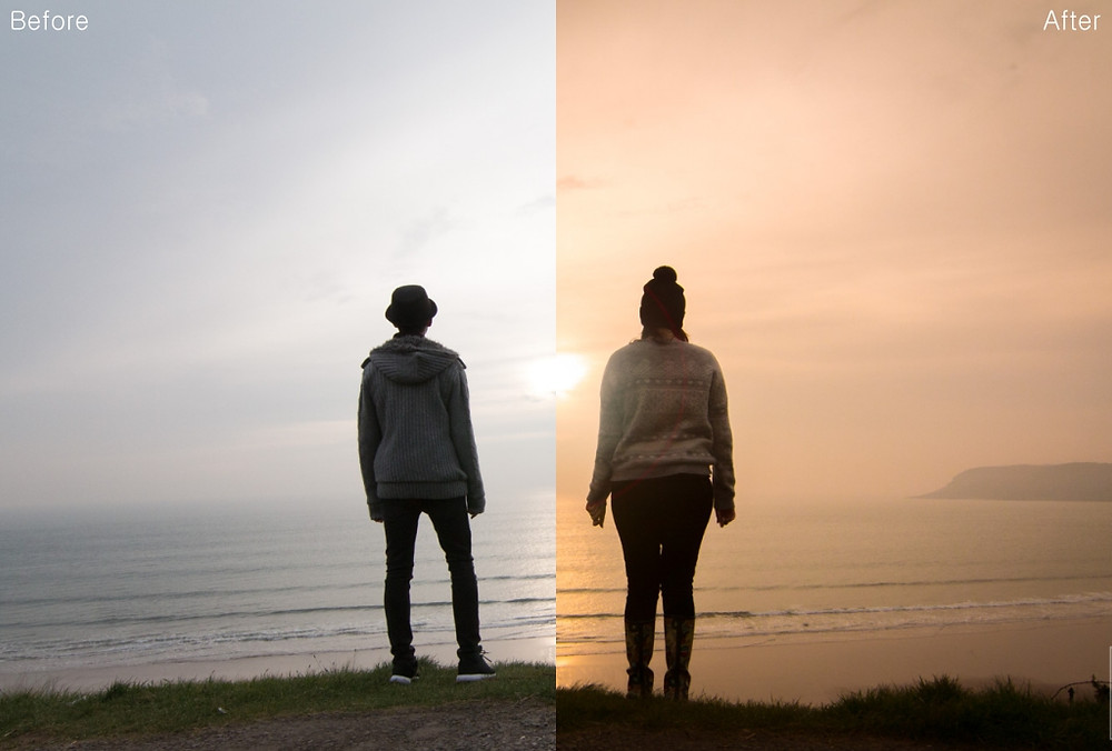 Before and after sunset editing