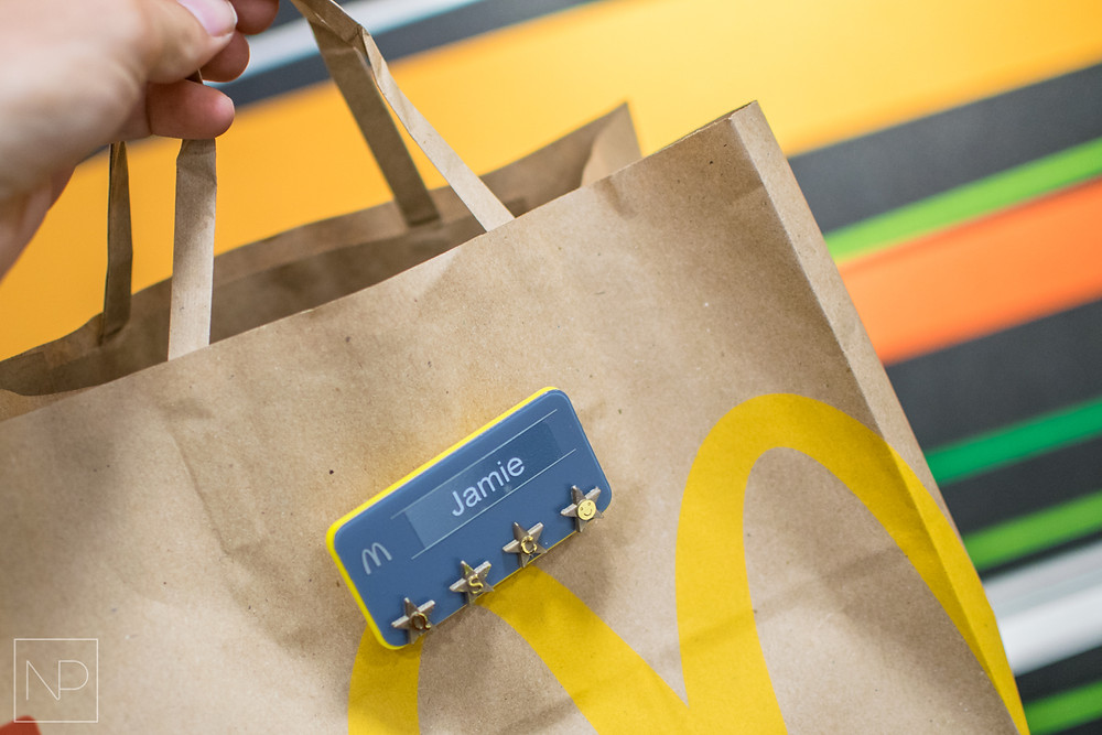 McDonald's Bag with personalised name badge