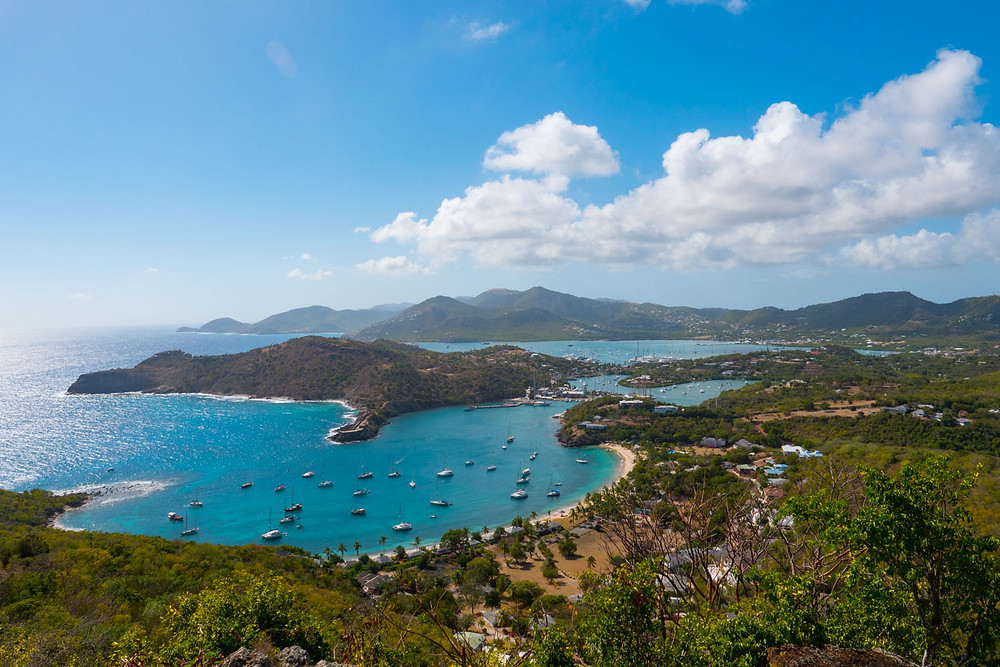 View over English Harbour from Shirley Heights in Antigua