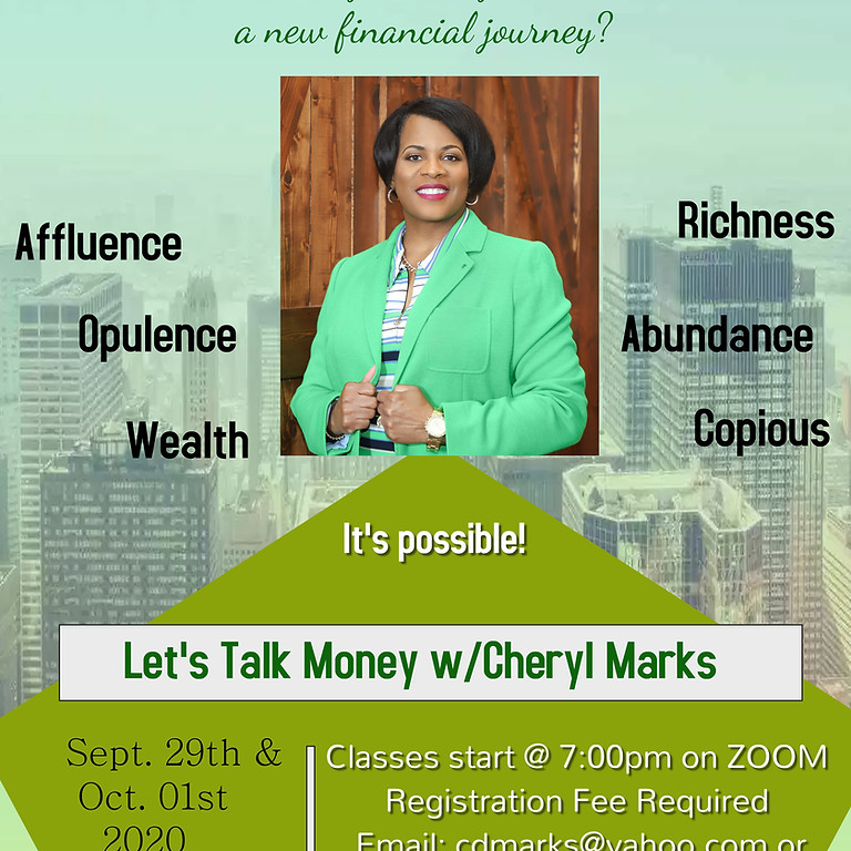 """Masterclass with Dr. Cheryl Marks """"Let's Talk Money"""""""