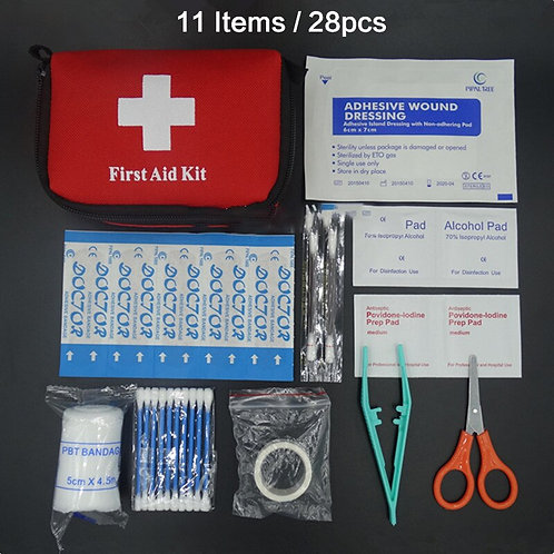 11 Items/28pcs Portable Travel First Aid Kit Outdoor Camping Emergency Medical
