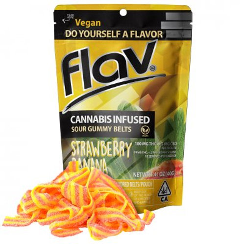 Flav Sour Gummy Belts Strawberry Banana 100mgTHC