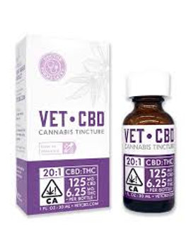 VETCBD Tincture 20:1 (125mg CBD:6.25mg THC) 30mL