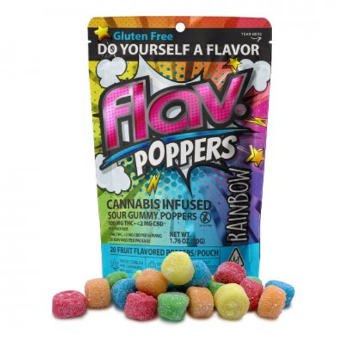 Flav Sour Gummy Poppers Rainbow 100mgTHC