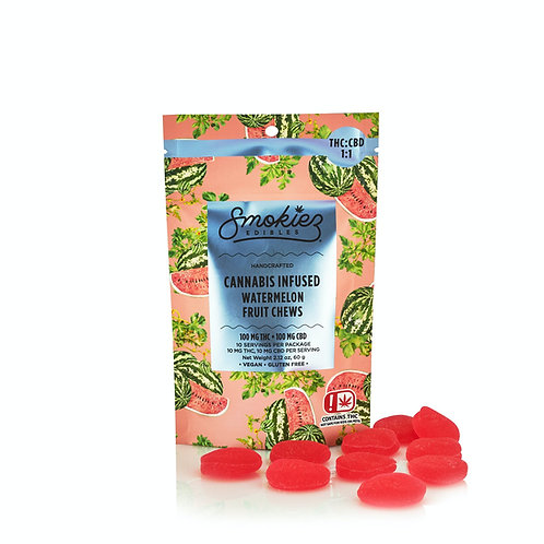 Smokiez CBD 1:1 Fruit Chews Sour Watermelon 100mgCBD/100mgTHC