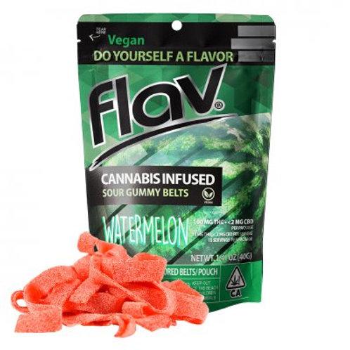 Flav Sour Gummy Belts Watermelon 100mgTHC