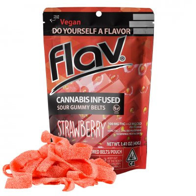 Flav Sour Gummy Belts Strawberry 100mgTHC