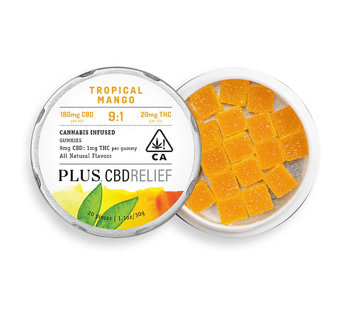 PLUS Gummies CBDRelief 9:1 Tropical Mango 180mgCBD/20mgTHC