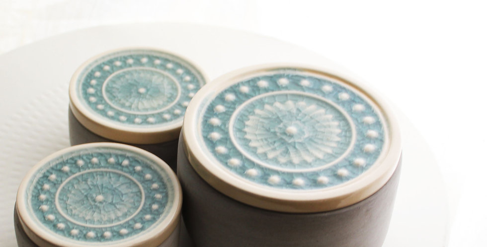 Concrete Storage Jar With Ceramic Lid- Teal - Select Size