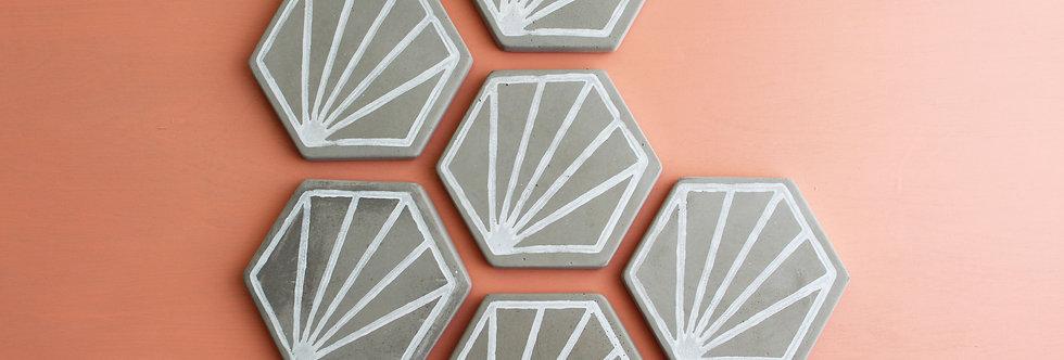 Hexagon Sunburst Cement Coasters - Set Of 4