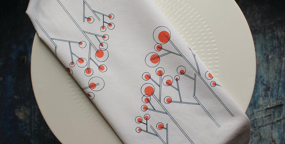 Tea Towel - Navy/Orange Lollipop Tree