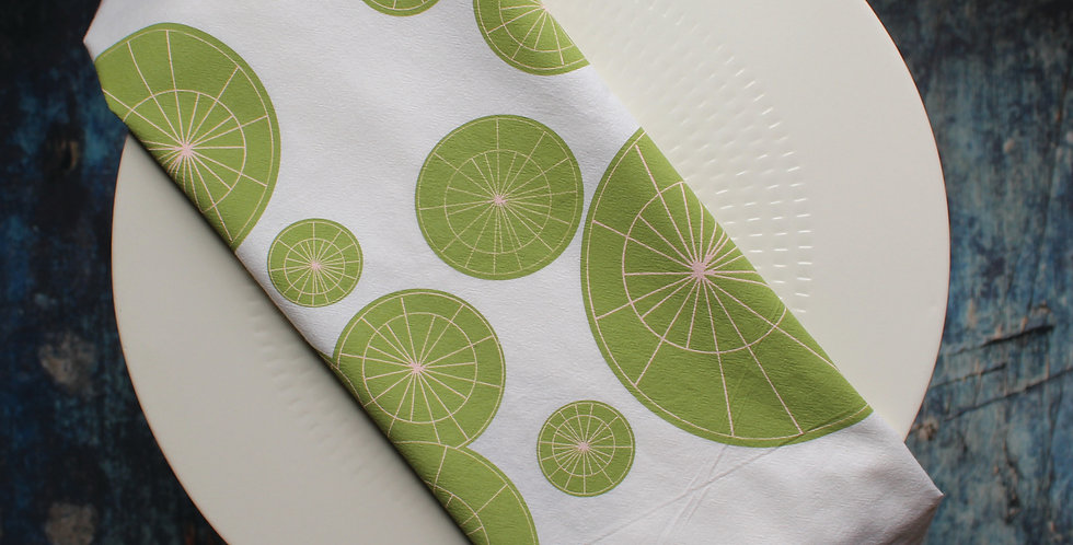 Tea Towel - Green and Pink Starburst