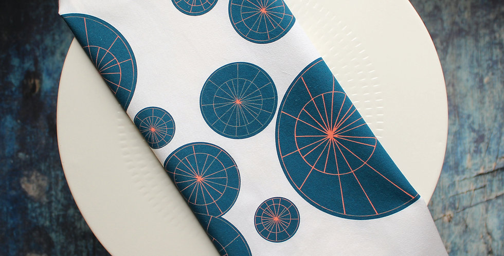 Tea Towel - Navy Starbursts