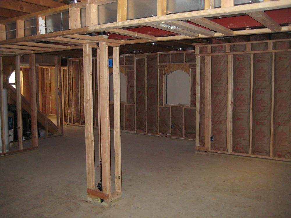Basement walls; insulation installed