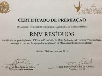 RNV Resíduos vencedora do 15º  Prêmio CREA-GO de Meio Ambiente 2016