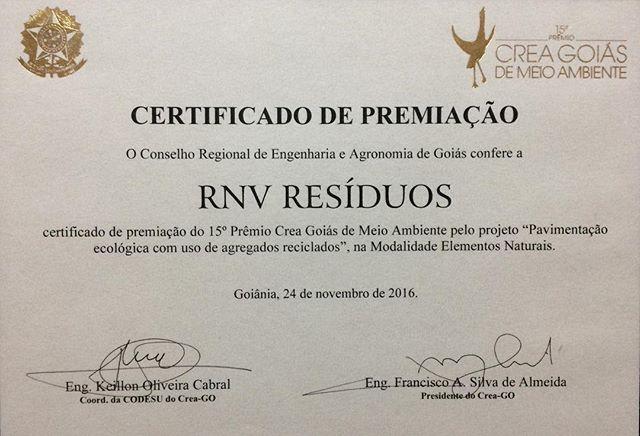 Certificado da premiação do 15º Prêmio _creagoias de Meio Ambiente. A _rnvresiduos foi a vencedora n