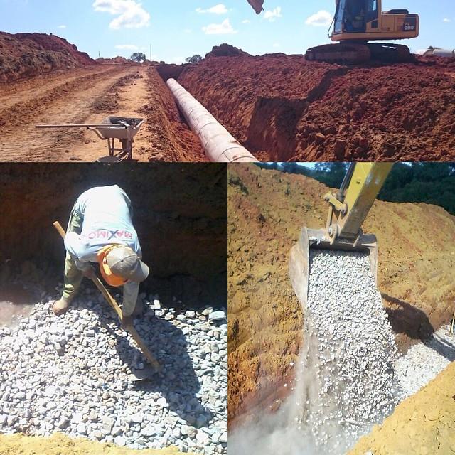 Aplicação do agregado reciclado RNV em obra em Abadia de Goiás