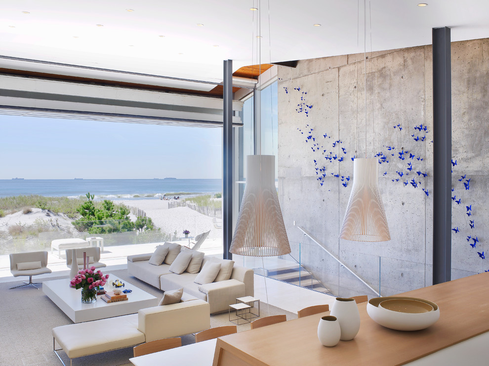 Beach-rooms-ideas-living-room-modern-with-beach-house-white-upholstery-blue-butterflies-7