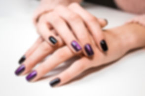 Hand on hand with nice manicure. Shellac