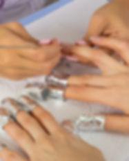step of manicure process: nail gel polis