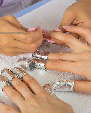 step of manicure process: nail gel polis