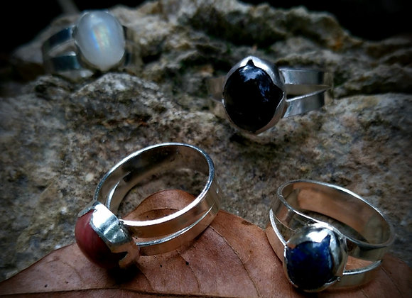 Rings with natural stones.