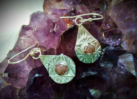 Silver earrings with Rhodochrosite stone