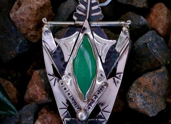 Emerald and Agate silver pendant