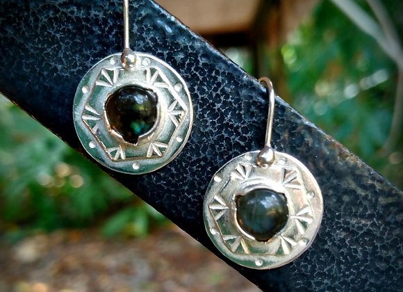 Silver earrings with Labradorite stone