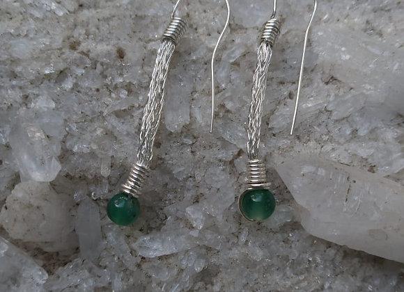 Silver crochet chain earrings