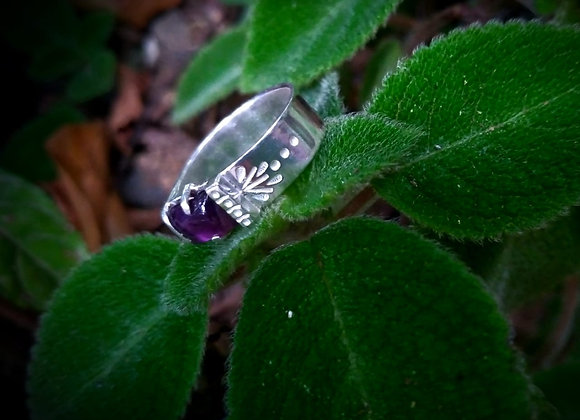 Sterling silver ring with rectangular amethyst stone
