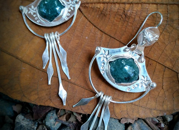 Silver earrings with green Jade stone