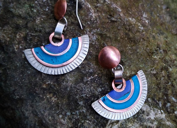 colored crescent moon earrings