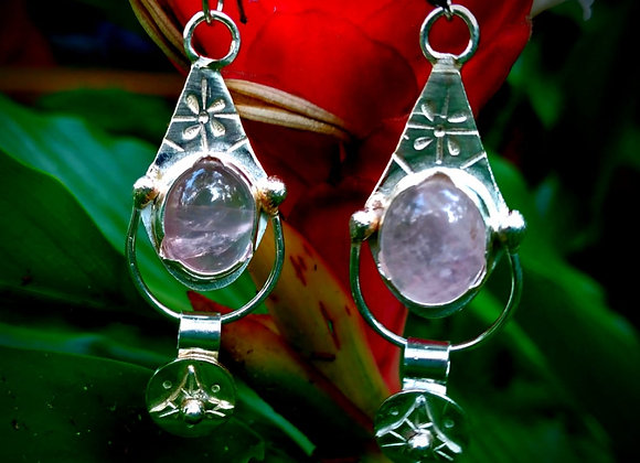 Silver earrings with Rose Quartz stone