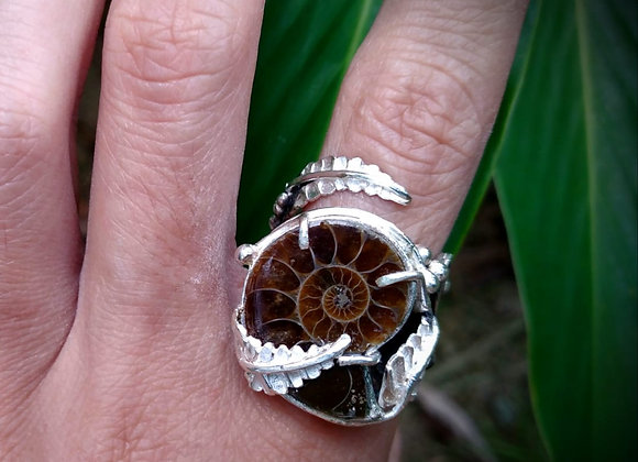 Ring with Ammonite fosil stone