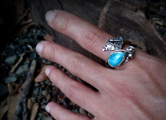Sterling silver ring with larimar stone and leaves