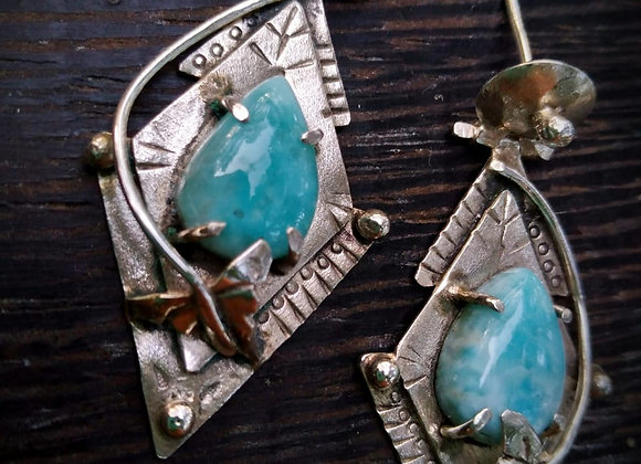 Silver earrings with Larimar stone