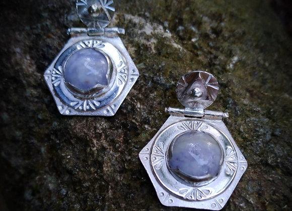 Silver hexagonal earrings with lavender jade stone