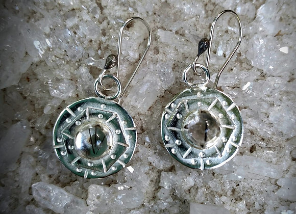 Silver earrings with tourmaline quartz stone