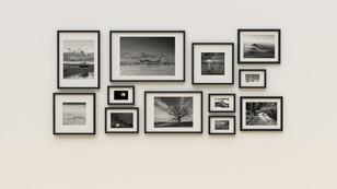 modern black frrame photo wall