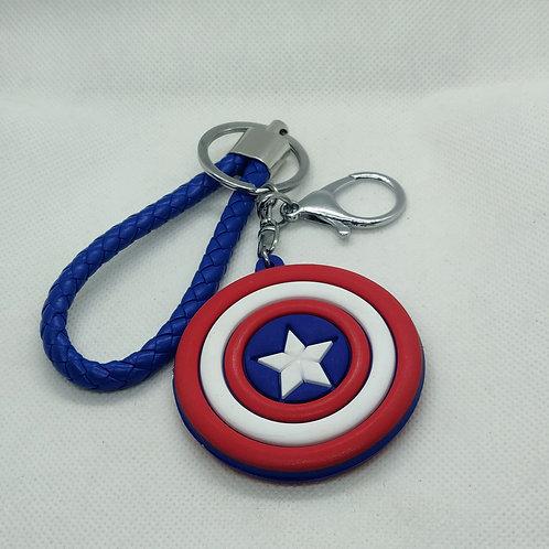Captain America Shield Logo Rubber Keychain