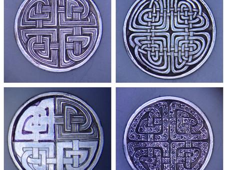 Triad of Celtic Knots cut on Mercury dimes.