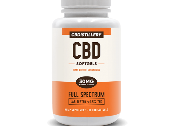 CBDistillery Full Spectrum CBD Softgels – 30mg – 60 Coun