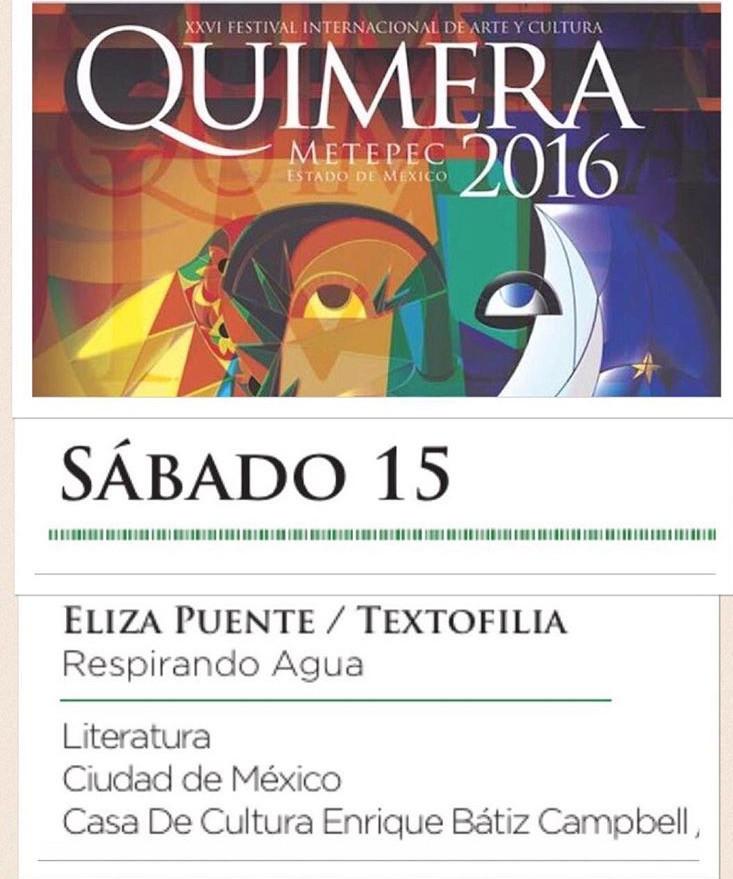 Festival Quimera Metepec 2016, presentaciones.