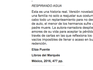 """Milenio: recomendaciones. """"Respirando Agua"""""""