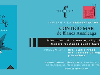 Lanzamiento: Contigo Mar de Blanca Ansoleaga en el Centro Cultural Elena Garro.